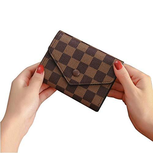 Leegoal Women's Checkered Short Pattern Monogram Canvas Wallet Mini Clutch Purse - PU Vegan Leather