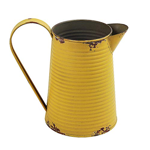 HyFanStr French Country Style Metal Jug Pitcher Rustic Flower Vase Can Plant Pot Jug for Home & Garden Decor, Yellow