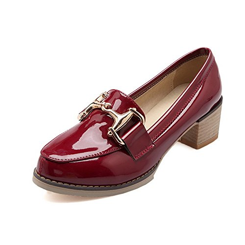Pull Shoes On Womens AmoonyFashion Closed Kitten Red Pumps Heels Toe Pointed Solid 5wFZvp
