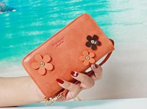 Fancy Flower Chain Luxury 3D Fashion PU Flip Wallet Bag Zipper Pocket Leather Case Cover For Smart Mobile Phones (LG Realm LS620 Boost Mobile , Brown )
