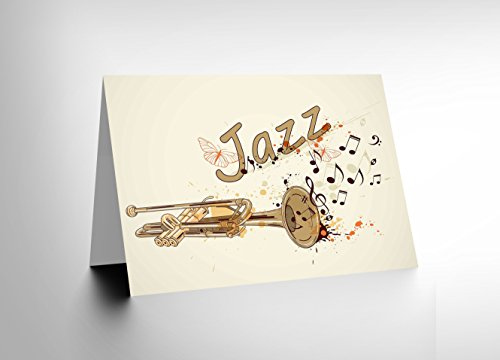 Themes Trumpet (CARD GREETING JAZZ THEME TRUMPET TYPOGRAPH MUSIC GIFT CL1704)