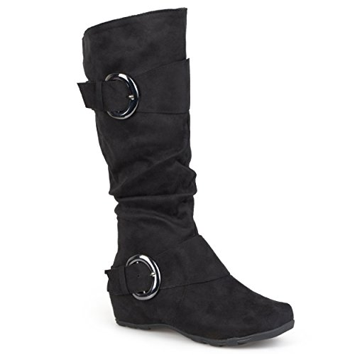 Black Suede Buckle Boots (Journee Collection Womens Regular Sized and Wide-Calf Slouch Buckle Knee-High Microsuede Boots Black, 7.5 Regular US)