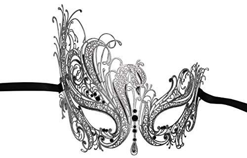Luxury Mask Women's Swan Metal Filigree Laser Cut