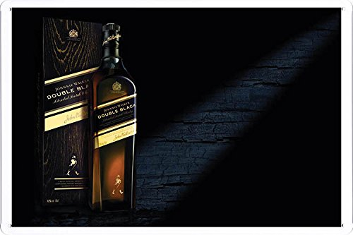 "Tin Sign Metal Poster Plate (8""x12"") of Johnnie Walker Double Black Whiskey by Food & Beverage Decor Sign"