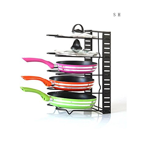Sweet House for Love Kitchen Cabinet Pantry Pan, Pot Lid Organizer Rack Holder, Black