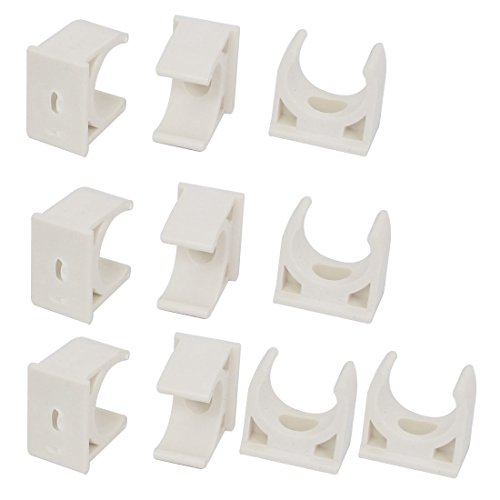 uxcell 20mm Dia PVC Water Tube Pipe Hose Clamps Snap in Type Clip White ()