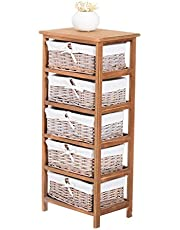 HOMCOM Drawer Storage Unit Wooden Frame with Wicker Woven Baskets Household Cabinet Chest