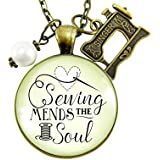 """24"""" Sewing Mends the Soul Seamstress Necklace Vintage Inspired Jewelry Gifts For Women Machine Charm"""