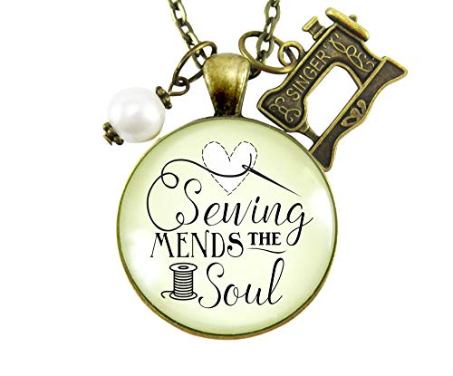 "24"" Sewing Mends the Soul Seamstress Necklace Vintage Inspired Jewelry Gifts For Women Machine Charm from Gutsy Goodness"