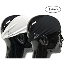 Mens Headband - Guys Sweatband & Sports Headbands Moisture Wicking Workout Sweatbands for Running, Crossfit, Skiing and bike helmet friendly