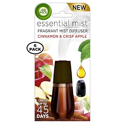 Air Wick Essential Mist Fragrance Oil Diffuser Refill, Cinnamon & Apple Crisp, 1ct (Pack of 6)