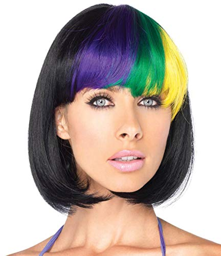 Mardi Gras Wigs (Mildiso Purple Green Yellow Black Wigs for Women Short Bob Wig Cosplay Party Wig)