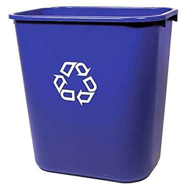 Rubbermaid FG295673 Blue Medium Deskside Recycling Container with Universal Recycle Symbol, 28-1/8 qt Capacity, 14.4  Length x 10.25  Width x 15  Height