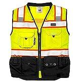 Vero1992 Vest Mens Class 2 Black Series Serveyors Utility Pockets Safety Vests Premium Black Series Serveyors Vest (Extra Large, Yellow/Black)