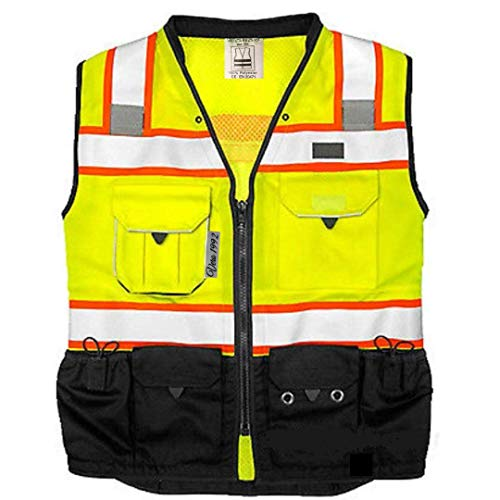Vero1992 Vest Mens Class 2 Black Series Serveyors Utility Pockets Safety Vests Premium Black Series Serveyors Vest (XX-Large, Yellow/Black)