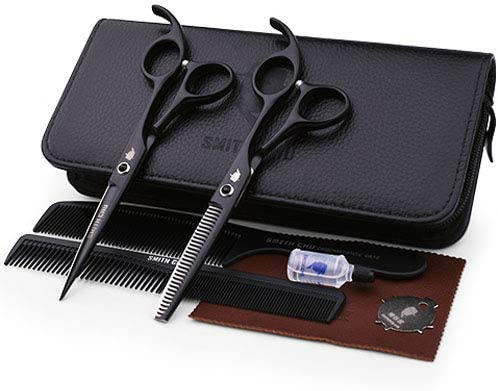 YH 6 Inch Professional Barber Hairdresser Scissors Set, Salon 440C Hair Cutting Thinning Scissors Comb Cutter Shears Stainless Steel Sliver, Barbers or Home Use,Set,5.5inch