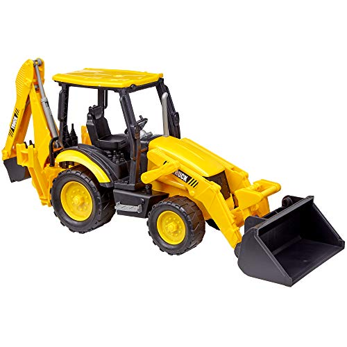 Dragon Too Backhoe Toy Truck Friction Powered Construction Vehicle (16 Inches) (Diecast Case Backhoe)
