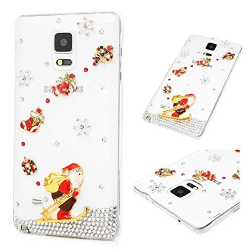 mas Case, MOLLYCOOCLE 3D Handmade Bling Skiing Santa Claus Crystal Rhinestone Diamond Transparent Clear Fashion Shockproof Soft PC Rubber Slim Fit Cover for Samsung Galaxy Note 4 ()