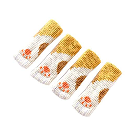 (4 Pcs/Set Table Chair Foot Cover Knitted Dining Leg Protector Socks Stool Mat Non-Slip Wear Chair Yellow 3x12cm)