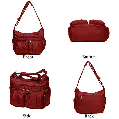 Crossbody Bags for Women, Multi Pocket Shoulder Bag Waterproof Nylon Travel Purses and Handbags (8981_Red) by VOLGANIK ROCK (Image #3)