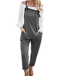 Womens Loose Overalls Long Suspender Jumpsuit Bib Baggy Romper Pants Plus Size 8 Colors