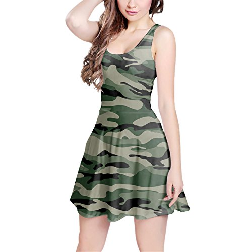 Military Camouflage Sleeveless Flared Skater Dress