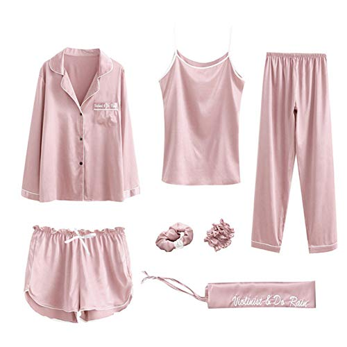 Seta Photo Autunno Homewear nbsp; Donna nbsp;Pijama Sleepwear Raso Sentendosi Set nbsp; Pigiama Pigiama Imposta Meaeo Color Estate Di nwqRHafC