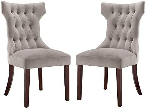 Dorel Living Clairborne Tufted Dining Chair 2 Pack , Taupe Espresso