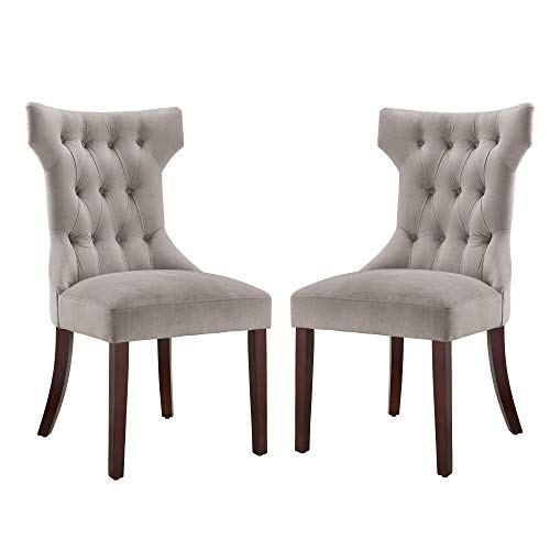 Dorel Living Clairborne Tufted Dining Chair (2 Pack), Taupe / Espresso (Tufted Dining Upholstered Chairs)