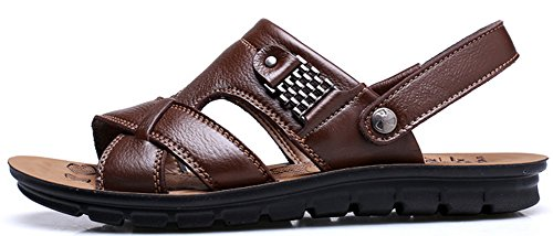 Vocni Mens Open Toe Casual Leather Comfort Shoes Sandals Large Size 6-14 Brown QsdKxq