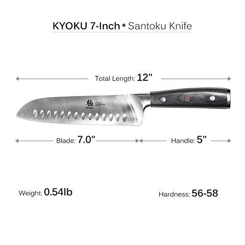 KYOKU Samurai Series - Santoku Chef Knife 7'' with Sheath & Case - Full Tang - Japanese High Carbon Steel - Pakkawood Handle with Mosaic Pin by KYOKU (Image #3)