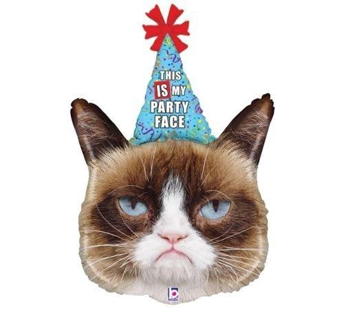 Amazon LoonBalloon GRUMPY CAT Kitty Kitten Party Hat Face 34 Happy Birthday Mylar Balloon Toys Games