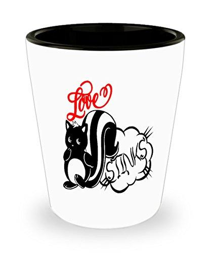 Love stinks skunk shot glass