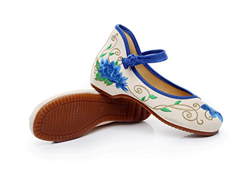 Avacostume Blauwe Lotus Borduurwerk Wiggen Comfort Cheongsam Jurk Schoenen Blauw