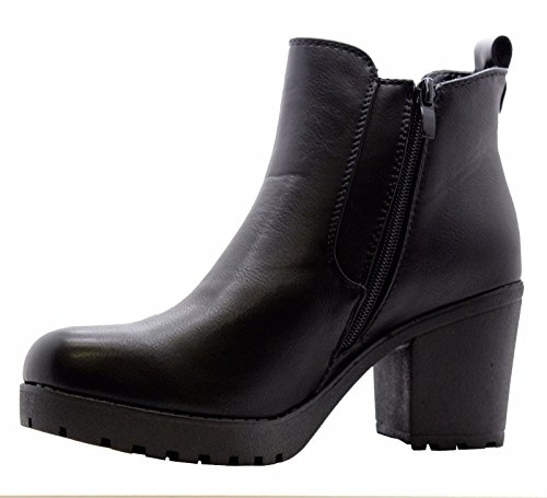 BLACK Ladies Grip Zip Ankle Mid 7 Chelsea Chunky High Block Shoes Womens Biker Platform Boots Size Heel Sole UK rwrPqURxYA