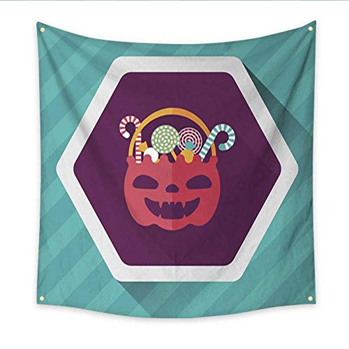 Anniutwo Tapestry Art Halloween Candy Flat icon with Long Shadow eps Bedspread Dorm Accessories Decor 32W x 32L -