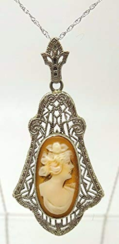 10k Gold Filigree Genuine Natural Cameo Pendant with 14k Gold Chain (#J3547)