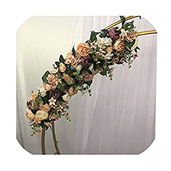 Image of Daydreaming-shop Wedding Arch Metal Round Outdoor Wedding Backdrop Arch Stand Double Ring Christmas Decorations for Home,2Pcs 1M Flower Row Home and Kitchen