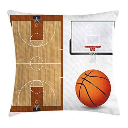 Lunarable Boy's Room Throw Pillow Cushion Cover, Basketball Court Backboard Illustration Realistic Sports Themed, Decorative Square Accent Pillow Case, 24 X 24 Inches, Pale Brown Orange Black by Lunarable