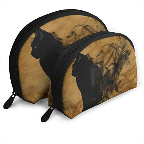 DHSJWIEU23 Halloween Little Black Cat Portable Bags Clutch Pouch Storage Bag Coin Purse Travel Bag Handbag Women's Bag One Big One Small Cosmetic Bag -