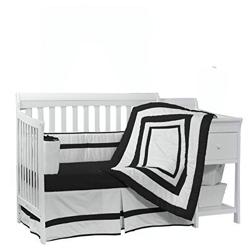 Baby Doll Bedding Modern Hotel Style Crib Bedding Set, Black (Crib Set Black)