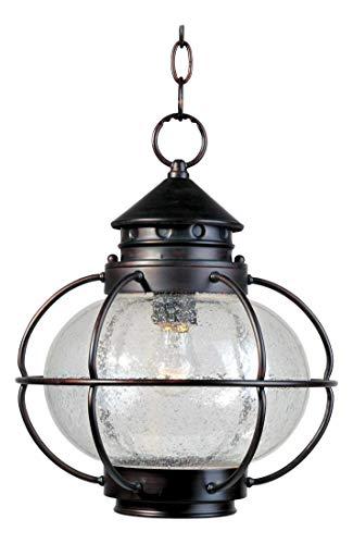 One Light Oil Rubbed Bronze Seedy Glass Hanging Lantern