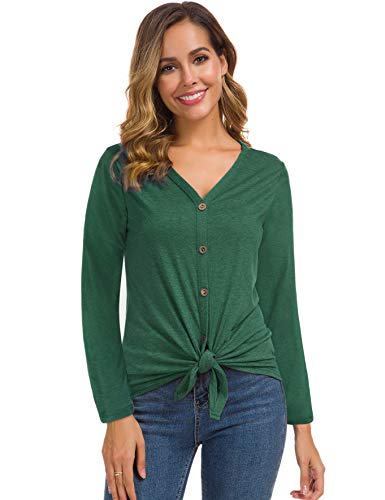 Womens Long Sleeve Cotton Blouse Tie Knot Henley Tops Loose Fitting Plain Shirts Green - Sleeve Blouse Cotton Long