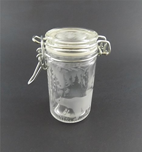 IncisoArt Hand Etched Glass Jar Airtight Canister Sandblasted (Sand Carved) Handmade Engraved Locking Wire Clamp Lid (Bear Forest Mountain, 3 Ounce)