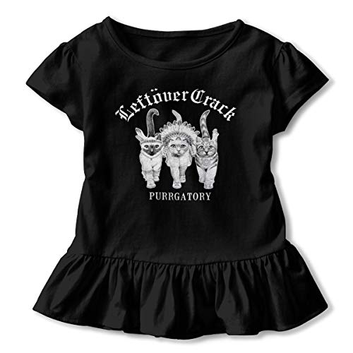 Leftover Crack American Punk Rock Band Soft Baby Girl Flounced T Shirts Outfits for 2-6T Baby Girls Black