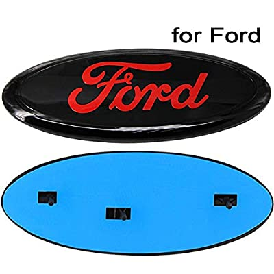 Poiuy Red Front Grille Tailgate Emblem,1PCS,9 inch American Flag Oval Decal Badge Nameplate Also Fits for Ford 04-14 F250 F350,11-14 Edge,11-16 Explorer,06-11 Ranger: Automotive
