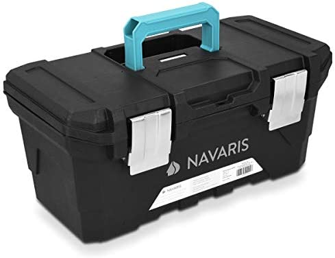 Navaris Tool Box 16 Inch – 40cm Rugged Plastic Multi-Purpose Toolbox Case with Lift-Out Organizer Tray to Store and Transport Tools – 2 Latches