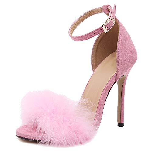 Pink Feather Shoes (fereshte Women's Fluffy Feathers Ankle Strap Stiletto High Heels Dress Sandals Pink Label Size 41-255mm - US)