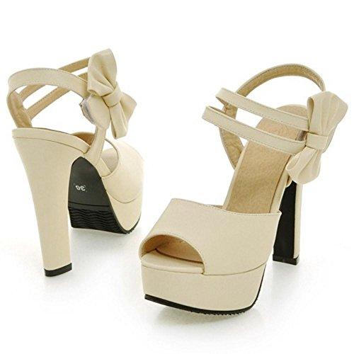 Chaussures Sandales RAZAMAZA Peep Beige Toe Femmes wHwpqgI