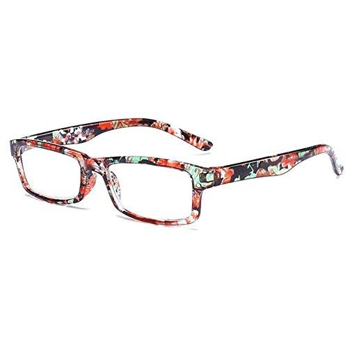 Inlefen Men and Women Reading Glasses Rectangular Plastic Frame eyewear +1.0 +1.5 +2.0 +2.5 +3.0 +3.5 - Glasses Reading Half Tortoiseshell Frame